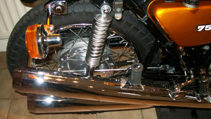 1972 kawasaki h2a 750cc triple rear wheel suspension exhaust